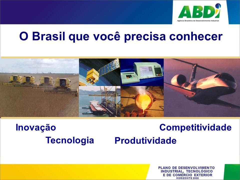 PLANO DE DESENVOLVIMENTO INDUSTRIAL, TECNOLÓGICO E DE COMÉRCIO EXTERIOR HORIZONTE 2008 O Brasil que você precisa conhecer Inovação Tecnologia Competit