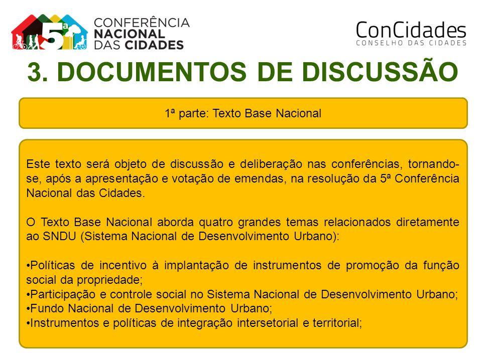 1ª parte: Texto Base Nacional Este texto será objeto de discussão e deliberação nas conferências, tornando- se, após a apresentação e votação de emend