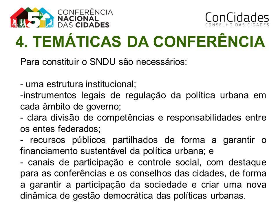 Para constituir o SNDU são necessários: - uma estrutura institucional; -instrumentos legais de regulação da política urbana em cada âmbito de governo;