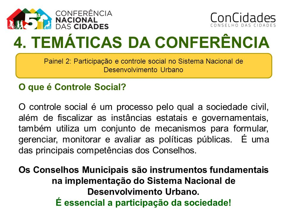 Painel 2: Participação e controle social no Sistema Nacional de Desenvolvimento Urbano 4. TEMÁTICAS DA CONFERÊNCIA O que é Controle Social? O controle