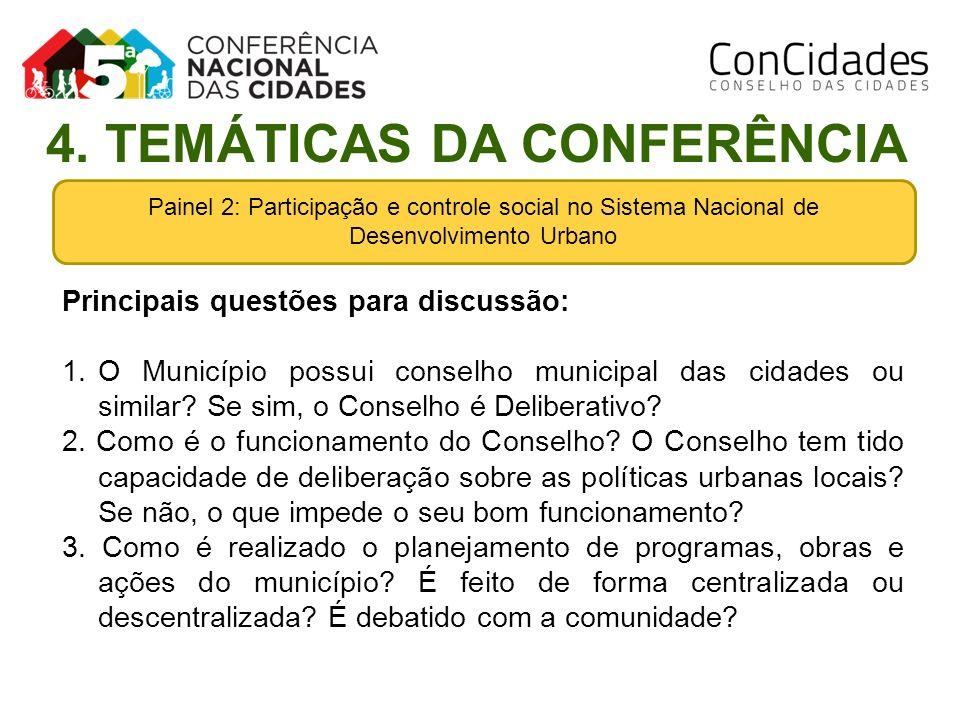 Painel 2: Participação e controle social no Sistema Nacional de Desenvolvimento Urbano Principais questões para discussão: 1.O Município possui consel