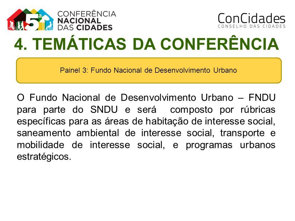 Painel 3: Fundo Nacional de Desenvolvimento Urbano O Fundo Nacional de Desenvolvimento Urbano – FNDU para parte do SNDU e será composto por rúbricas e