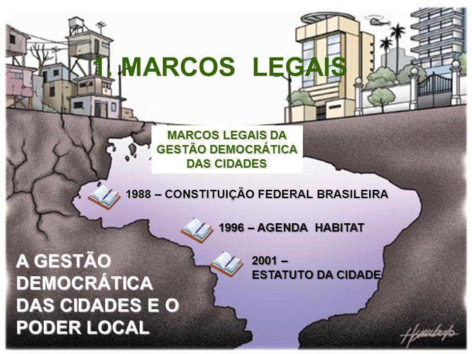A GESTÃO DEMOCRÁTICA DAS CIDADES E O PODER LOCAL MARCOS LEGAIS DA GESTÃO DEMOCRÁTICA DAS CIDADES 1988 – CONSTITUIÇÃO FEDERAL BRASILEIRA 1996 – AGENDA