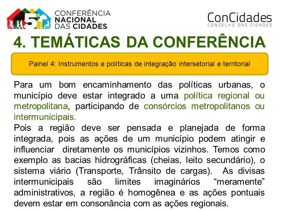 Painel 4: Instrumentos e políticas de integração intersetorial e territorial Para um bom encaminhamento das políticas urbanas, o município deve estar