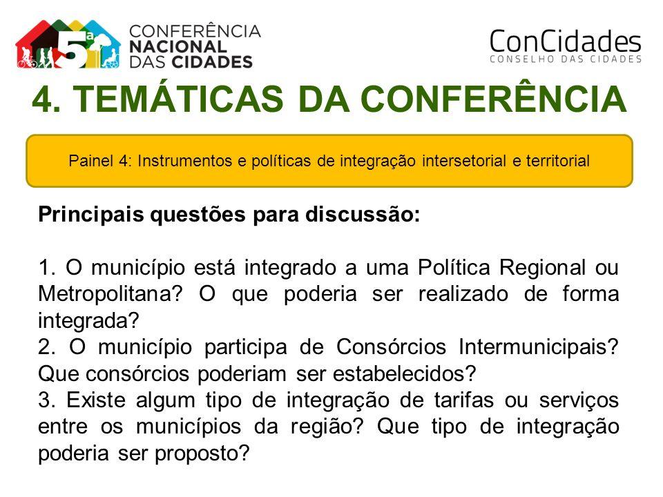 Painel 4: Instrumentos e políticas de integração intersetorial e territorial Principais questões para discussão: 1. O município está integrado a uma P