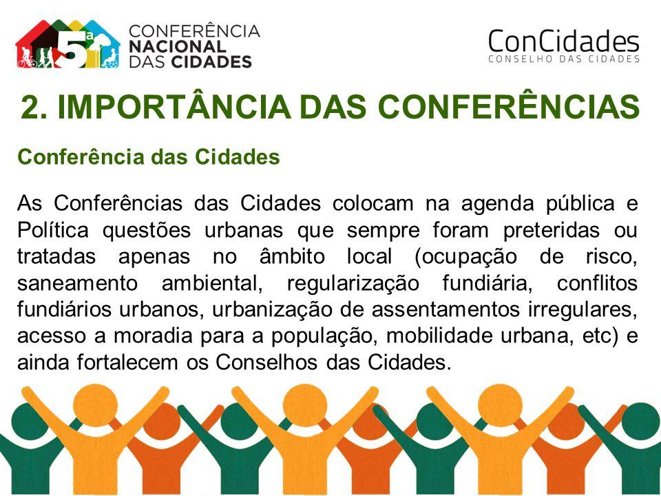 Conferência das Cidades As Conferências das Cidades colocam na agenda pública e Política questões urbanas que sempre foram preteridas ou tratadas apen