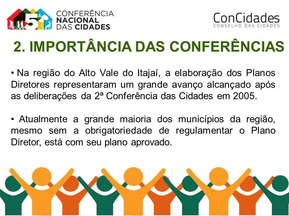 Na região do Alto Vale do Itajaí, a elaboração dos Planos Diretores representaram um grande avanço alcançado após as deliberações da 2ª Conferência da