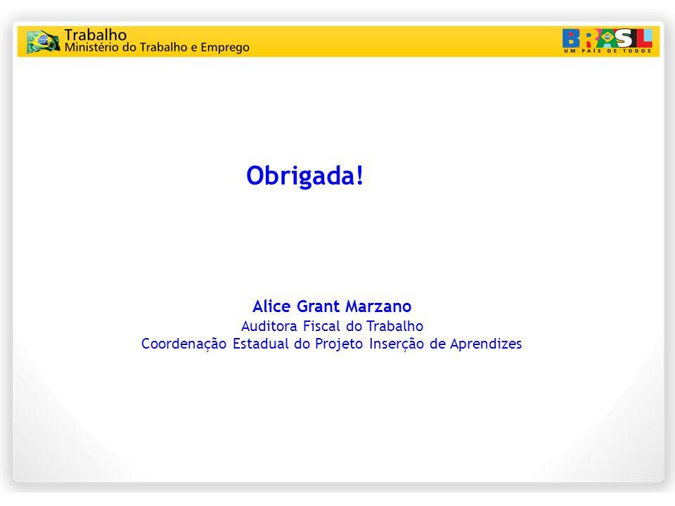 Obrigada! Alice Grant Marzano Auditora Fiscal do Trabalho Coordenação Estadual do Projeto Inserção de Aprendizes