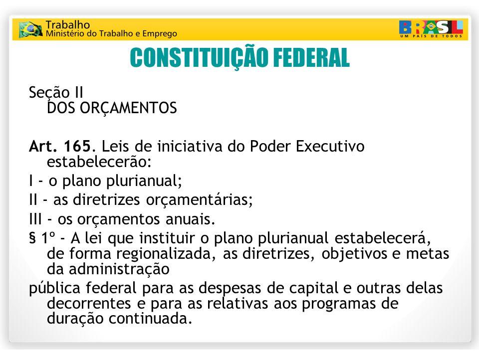 CONSTITUIÇÃO FEDERAL Seção II DOS ORÇAMENTOS Art. 165. Leis de iniciativa do Poder Executivo estabelecerão: I - o plano plurianual; II - as diretrizes