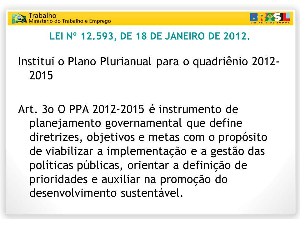 LEI Nº 12.593, DE 18 DE JANEIRO DE 2012. Institui o Plano Plurianual para o quadriênio 2012- 2015 Art. 3o O PPA 20122015 é instrumento de planejamento