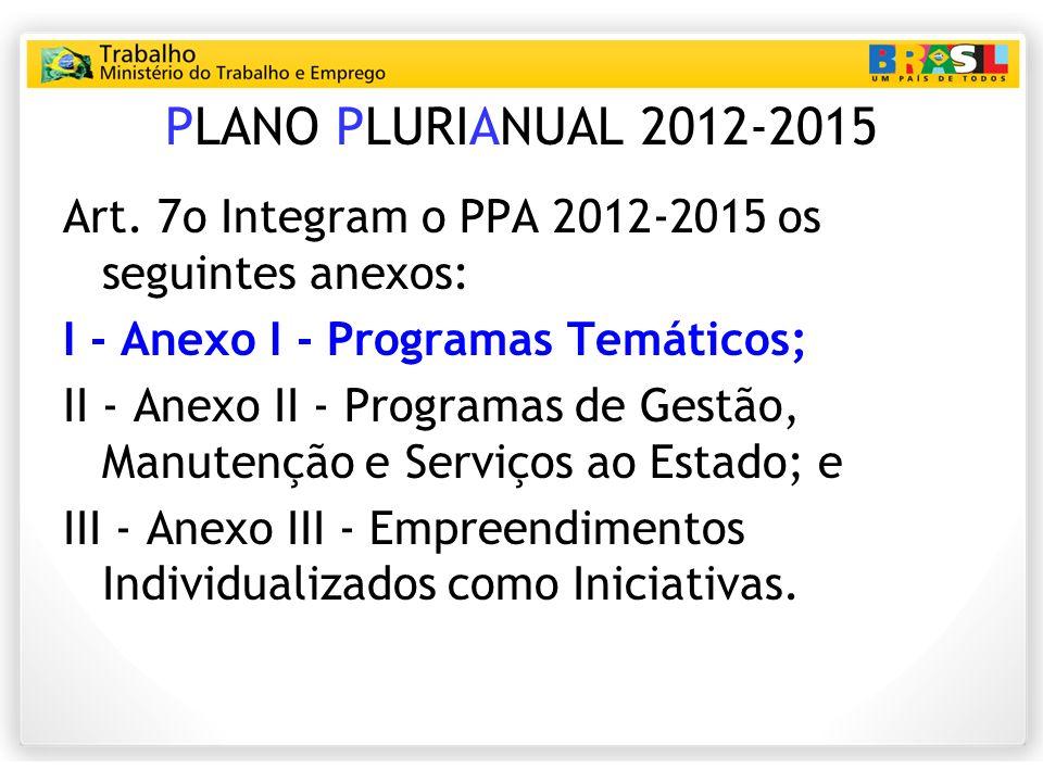 PLANO PLURIANUAL 2012-2015 Art. 7o Integram o PPA 20122015 os seguintes anexos: I Anexo I Programas Temáticos; II Anexo II Programas de Gestão, Manute