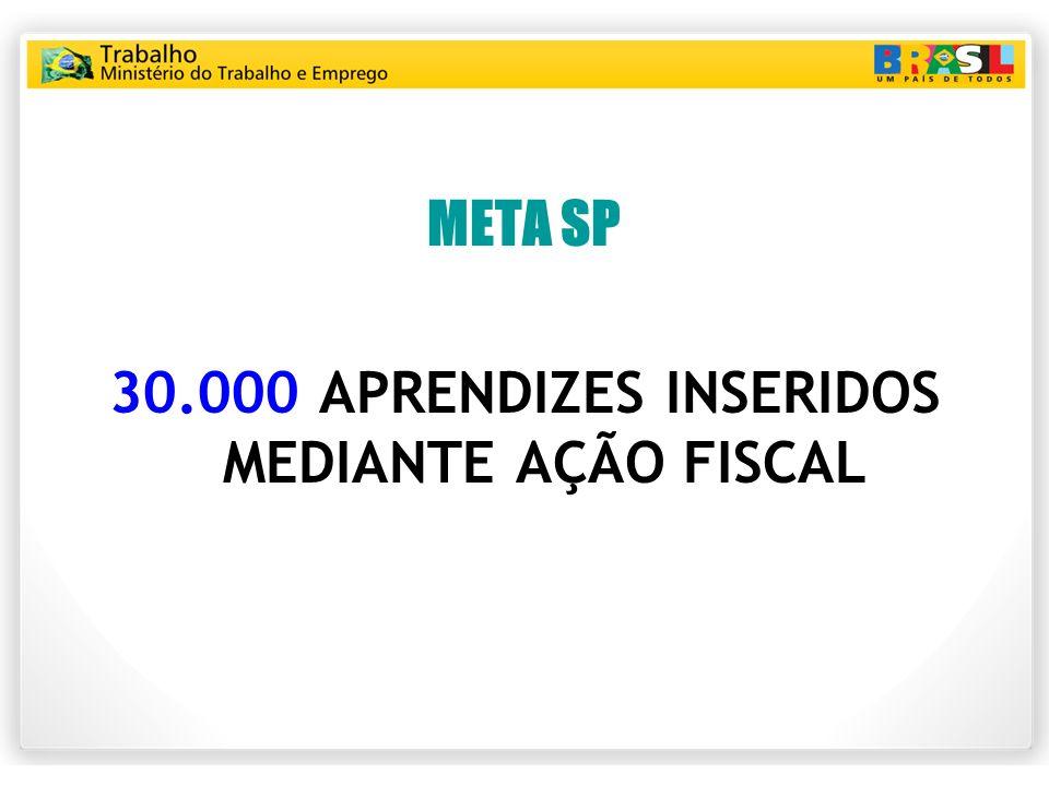 META SP 30.000 APRENDIZES INSERIDOS MEDIANTE AÇÃO FISCAL