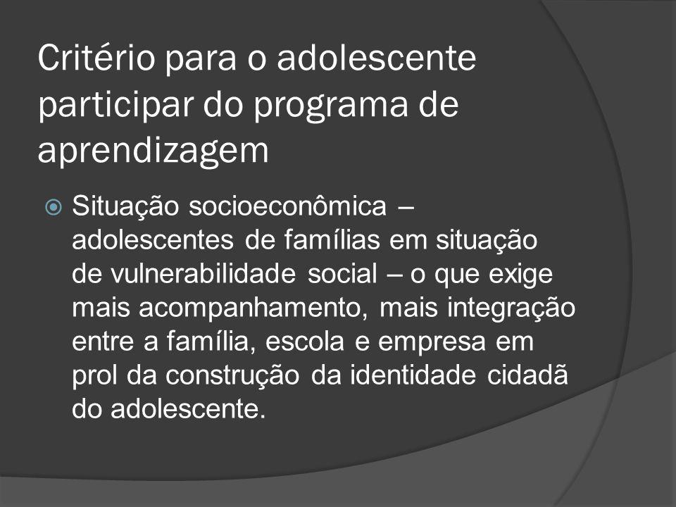 Critério para o adolescente participar do programa de aprendizagem Situação socioeconômica – adolescentes de famílias em situação de vulnerabilidade s