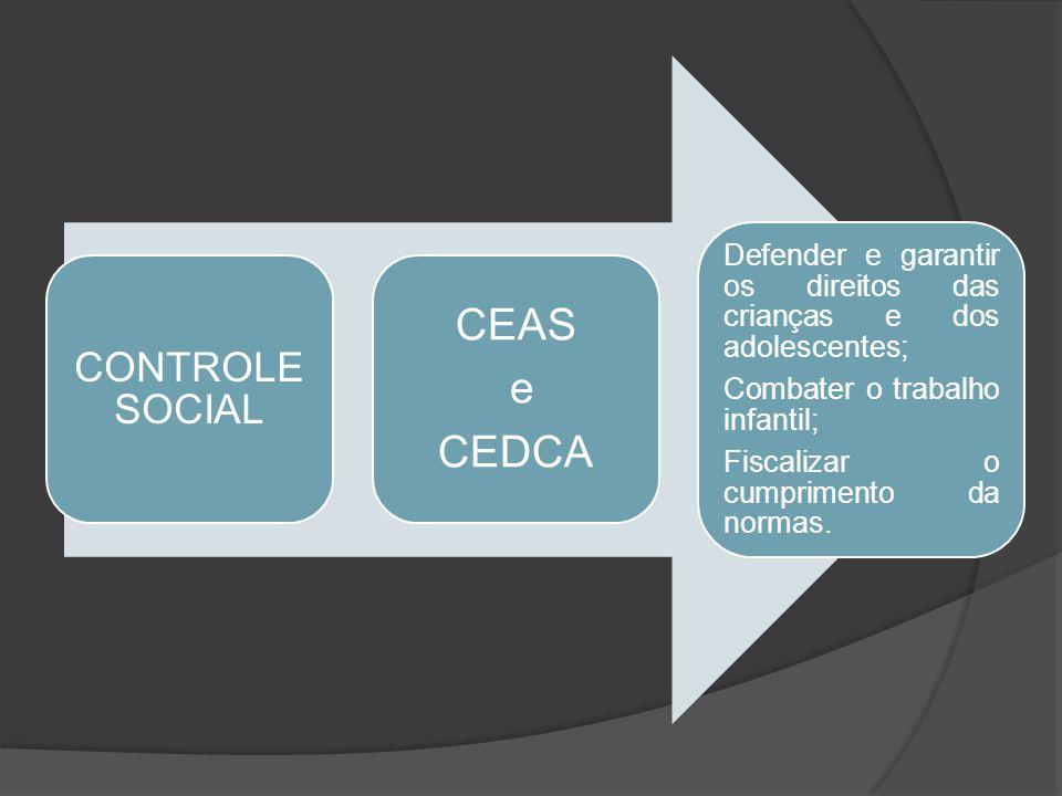 CONTROLE SOCIAL CEAS e CEDCA Defender e garantir os direitos das crianças e dos adolescentes; Combater o trabalho infantil; Fiscalizar o cumprimento d