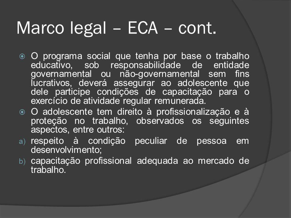 Marco legal – ECA – cont. O programa social que tenha por base o trabalho educativo, sob responsabilidade de entidade governamental ou não-governament