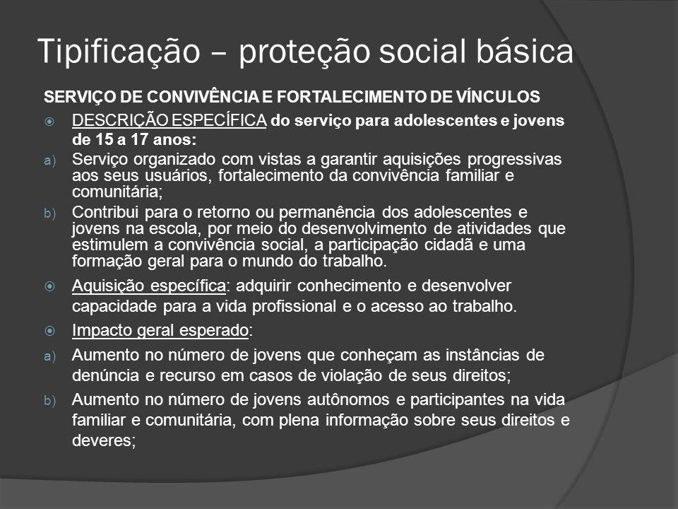Tipificação – proteção social básica SERVIÇO DE CONVIVÊNCIA E FORTALECIMENTO DE VÍNCULOS DESCRIÇÃO ESPECÍFICA do serviço para adolescentes e jovens de