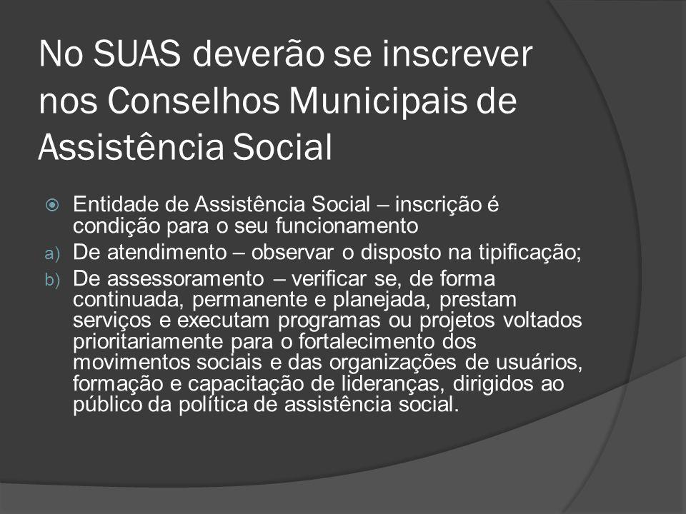 No SUAS deverão se inscrever nos Conselhos Municipais de Assistência Social Entidade de Assistência Social – inscrição é condição para o seu funcionam