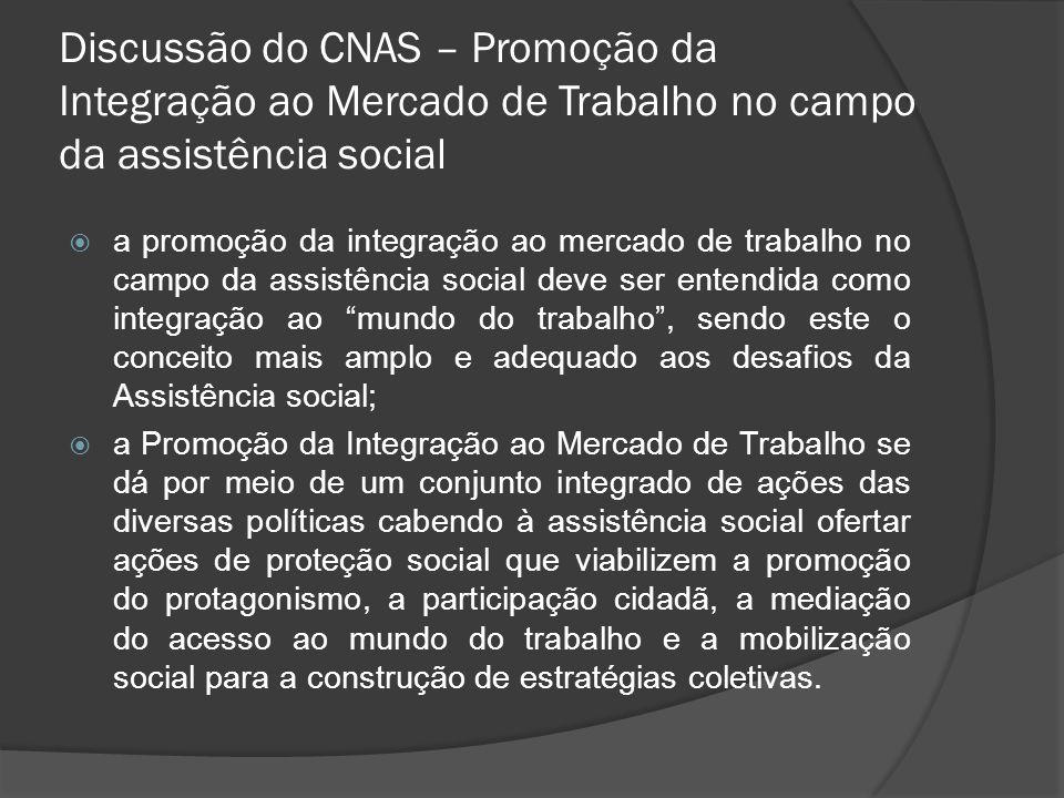 Discussão do CNAS – Promoção da Integração ao Mercado de Trabalho no campo da assistência social a promoção da integração ao mercado de trabalho no ca