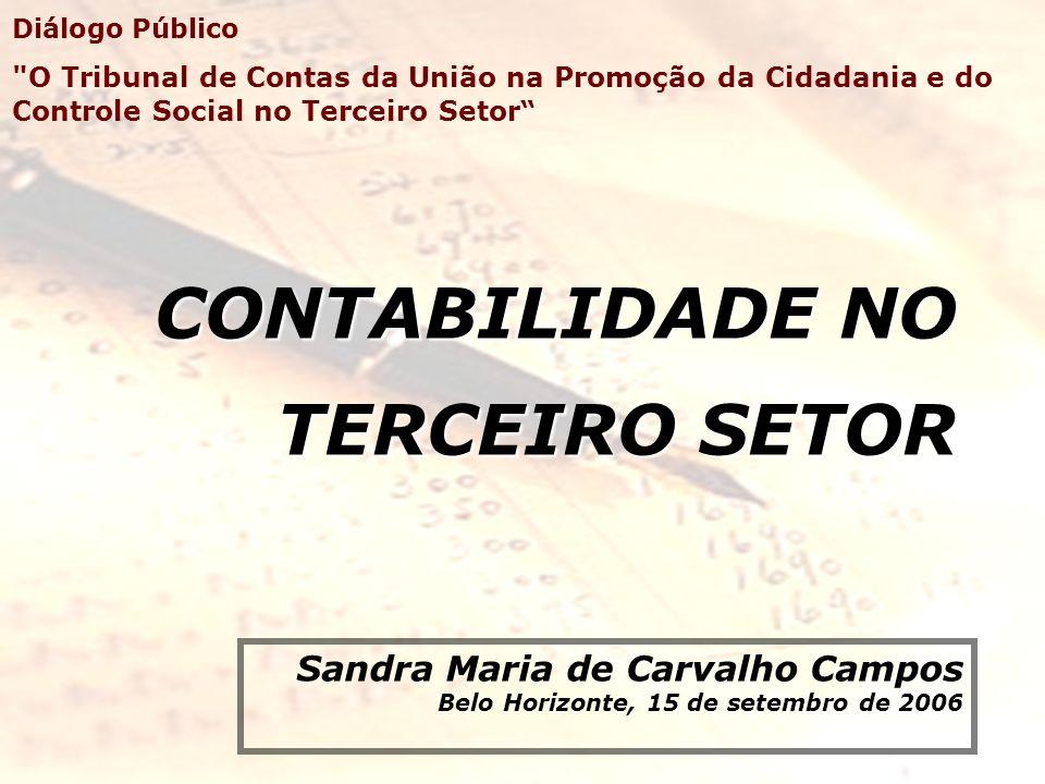 CONTABILIDADE NO TERCEIRO SETOR Sandra Maria de Carvalho Campos Belo Horizonte, 15 de setembro de 2006 Diálogo Público