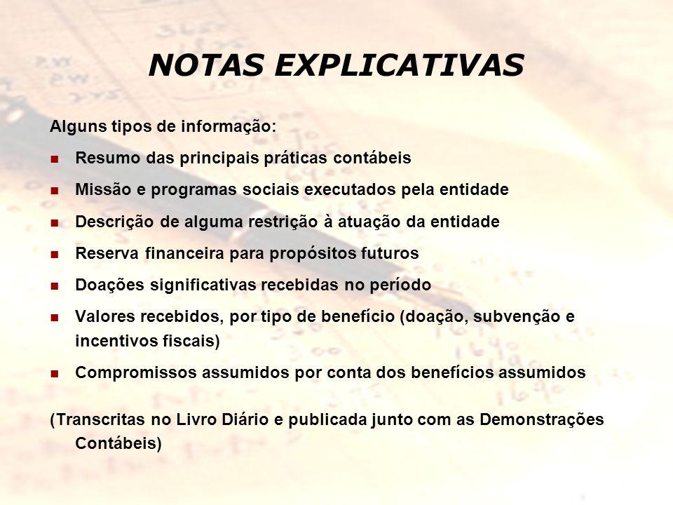 NOTAS EXPLICATIVAS Alguns tipos de informação: Resumo das principais práticas contábeis Missão e programas sociais executados pela entidade Descrição