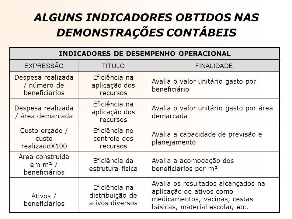 ALGUNS INDICADORES OBTIDOS NAS DEMONSTRAÇÕES CONTÁBEIS INDICADORES DE DESEMPENHO OPERACIONAL EXPRESSÃOTÍTULOFINALIDADE Despesa realizada / número de b