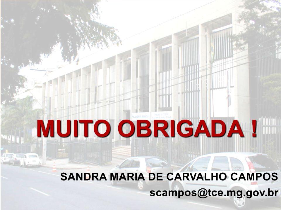 MUITO OBRIGADA ! SANDRA MARIA DE CARVALHO CAMPOS scampos@tce.mg.gov.br