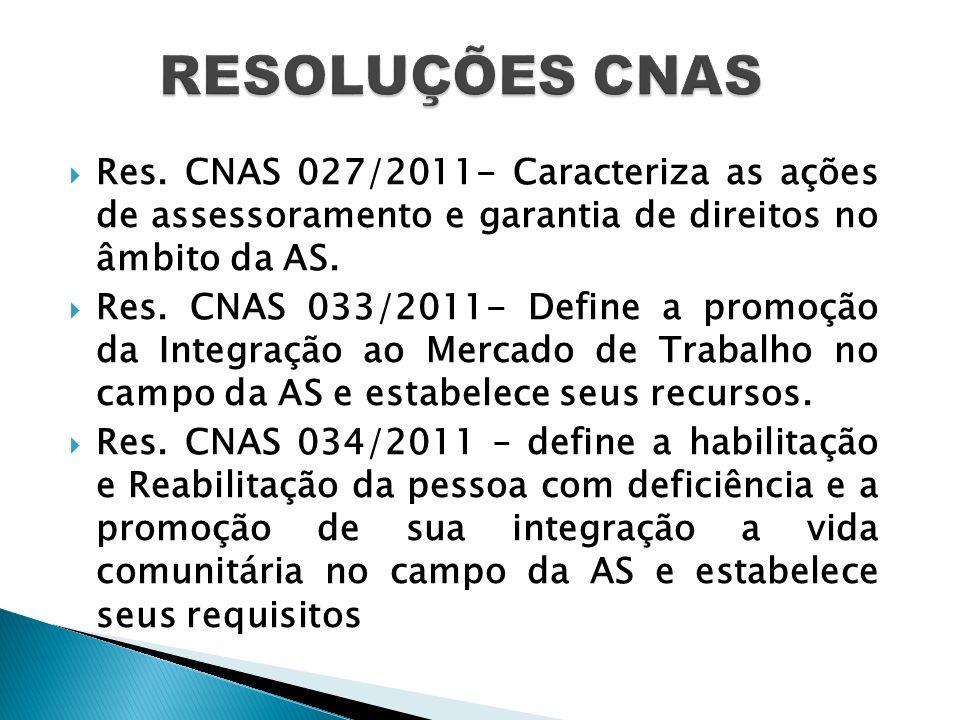 Res. CNAS 027/2011- Caracteriza as ações de assessoramento e garantia de direitos no âmbito da AS. Res. CNAS 033/2011- Define a promoção da Integração