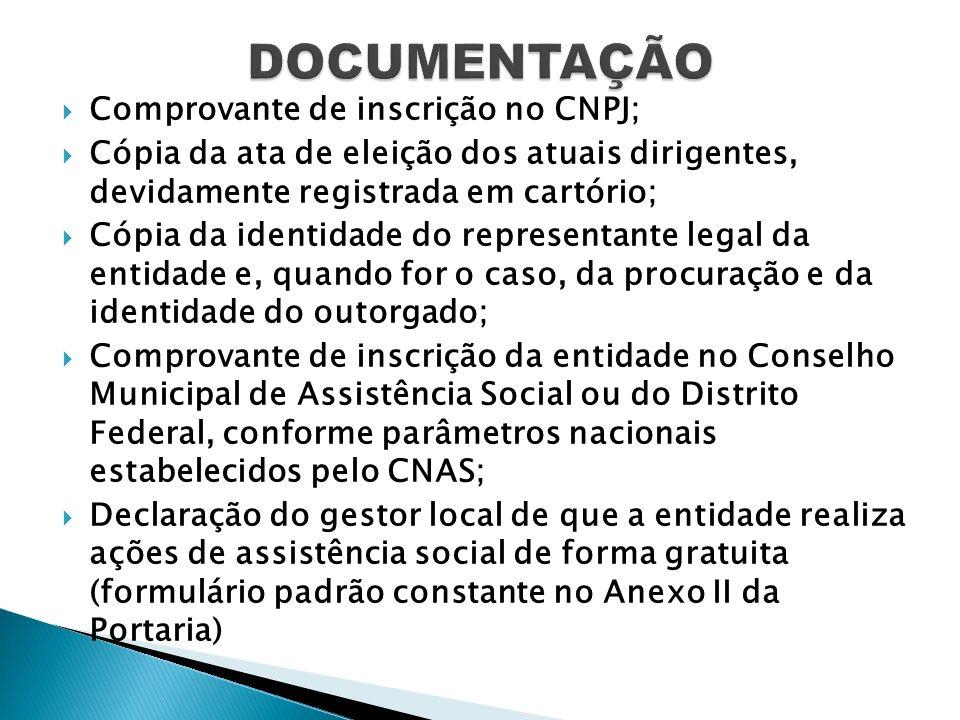 Comprovante de inscrição no CNPJ; Cópia da ata de eleição dos atuais dirigentes, devidamente registrada em cartório; Cópia da identidade do representa