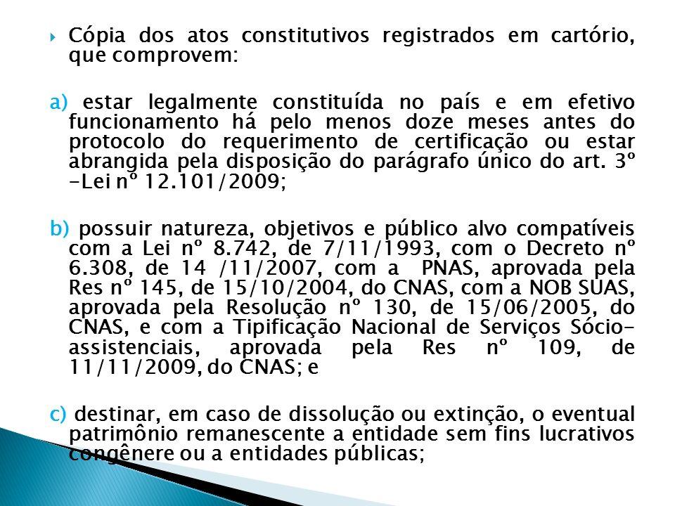 Cópia dos atos constitutivos registrados em cartório, que comprovem: a) estar legalmente constituída no país e em efetivo funcionamento há pelo menos