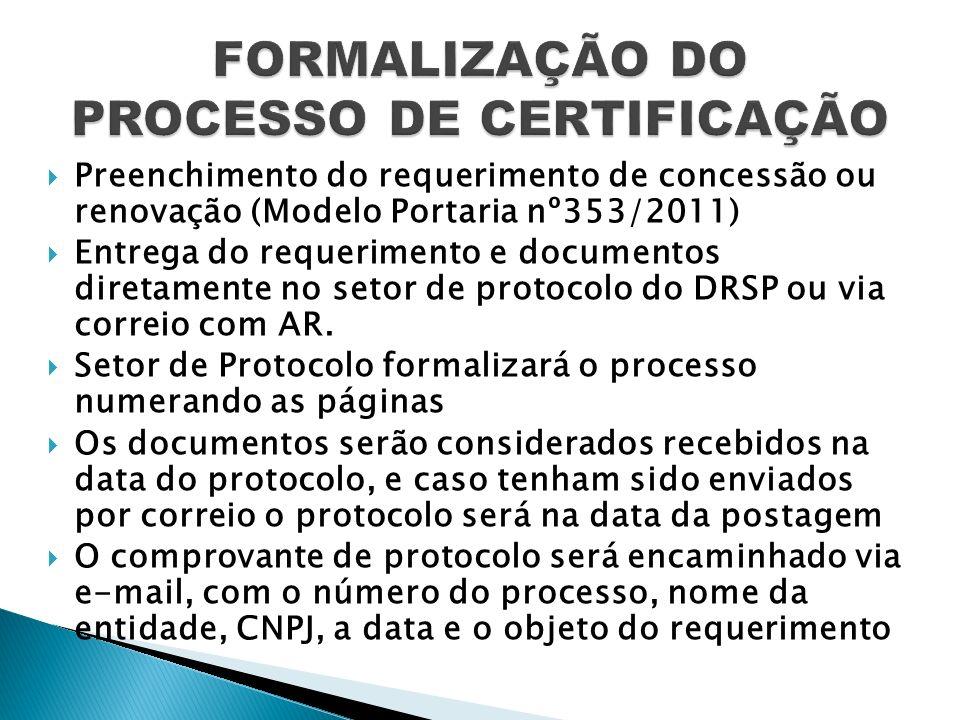 Preenchimento do requerimento de concessão ou renovação (Modelo Portaria nº353/2011) Entrega do requerimento e documentos diretamente no setor de prot
