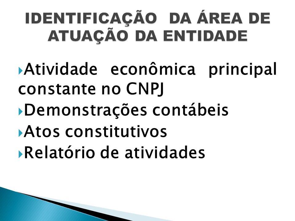 Atividade econômica principal constante no CNPJ Demonstrações contábeis Atos constitutivos Relatório de atividades