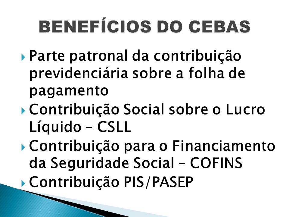 Parte patronal da contribuição previdenciária sobre a folha de pagamento Contribuição Social sobre o Lucro Líquido – CSLL Contribuição para o Financia