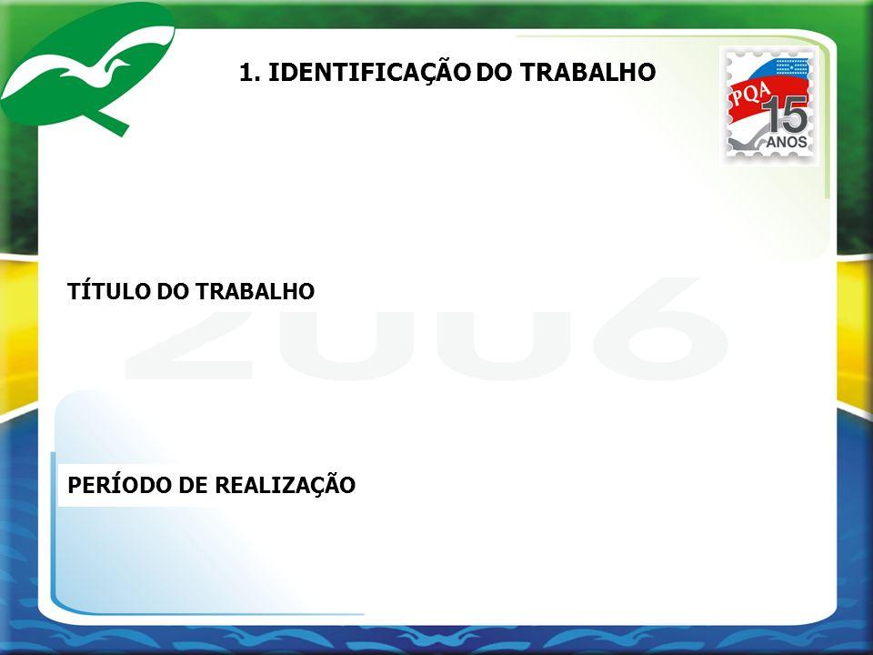 1. IDENTIFICAÇÃO DO TRABALHO TÍTULO DO TRABALHO PERÍODO DE REALIZAÇÃO
