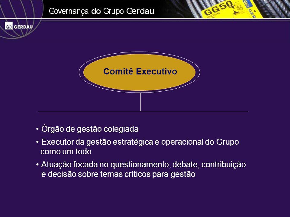 Órgão de gestão colegiada Executor da gestão estratégica e operacional do Grupo como um todo Atuação focada no questionamento, debate, contribuição e