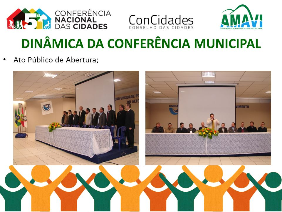 DINÂMICA DA CONFERÊNCIA MUNICIPAL Ato Público de Abertura;