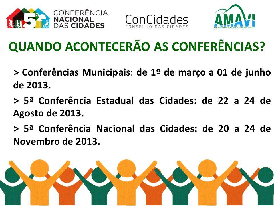 QUANDO ACONTECERÃO AS CONFERÊNCIAS? > Conferências Municipais: de 1º de março a 01 de junho de 2013. > 5ª Conferência Estadual das Cidades: de 22 a 24