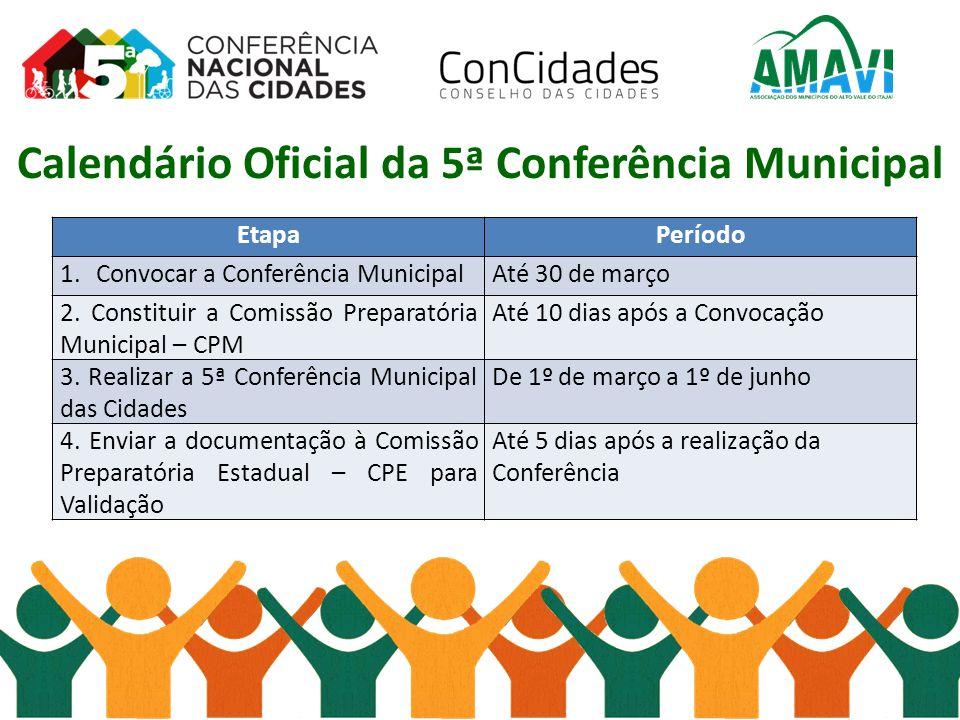 Calendário Oficial da 5ª Conferência Municipal EtapaPeríodo 1.Convocar a Conferência MunicipalAté 30 de março 2. Constituir a Comissão Preparatória Mu