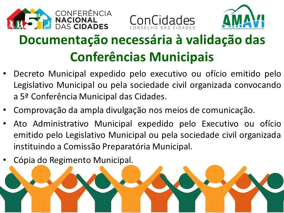 Documentação necessária à validação das Conferências Municipais Decreto Municipal expedido pelo executivo ou ofício emitido pelo Legislativo Municipal