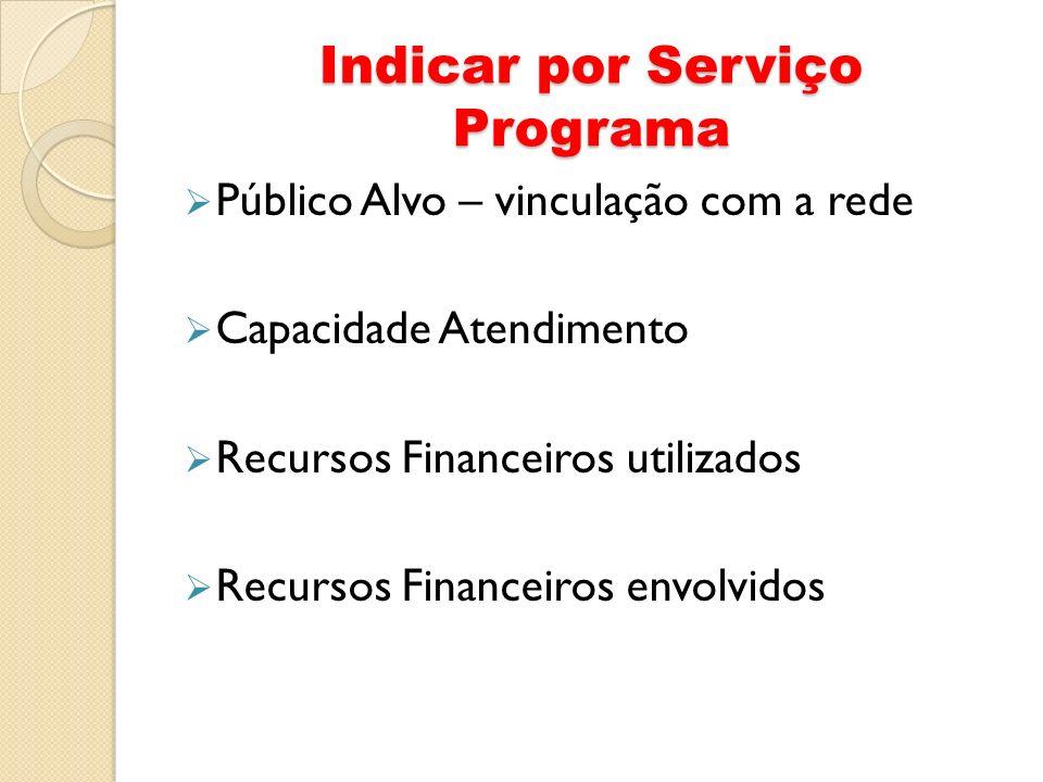 Indicar por Serviço Programa Público Alvo – vinculação com a rede Capacidade Atendimento Recursos Financeiros utilizados Recursos Financeiros envolvid