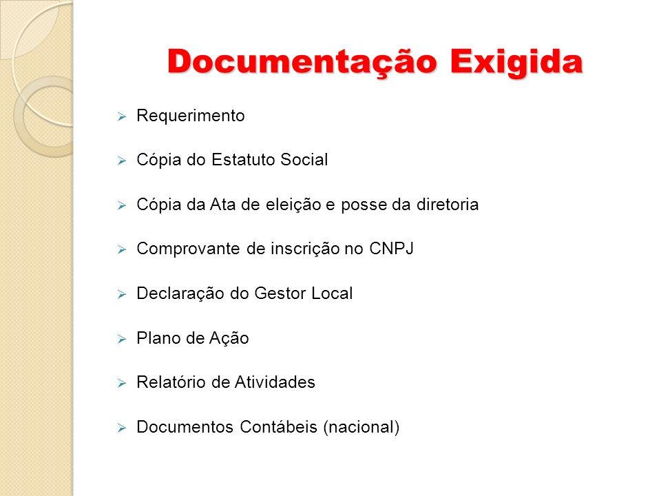 Documentação Exigida Requerimento Cópia do Estatuto Social Cópia da Ata de eleição e posse da diretoria Comprovante de inscrição no CNPJ Declaração do