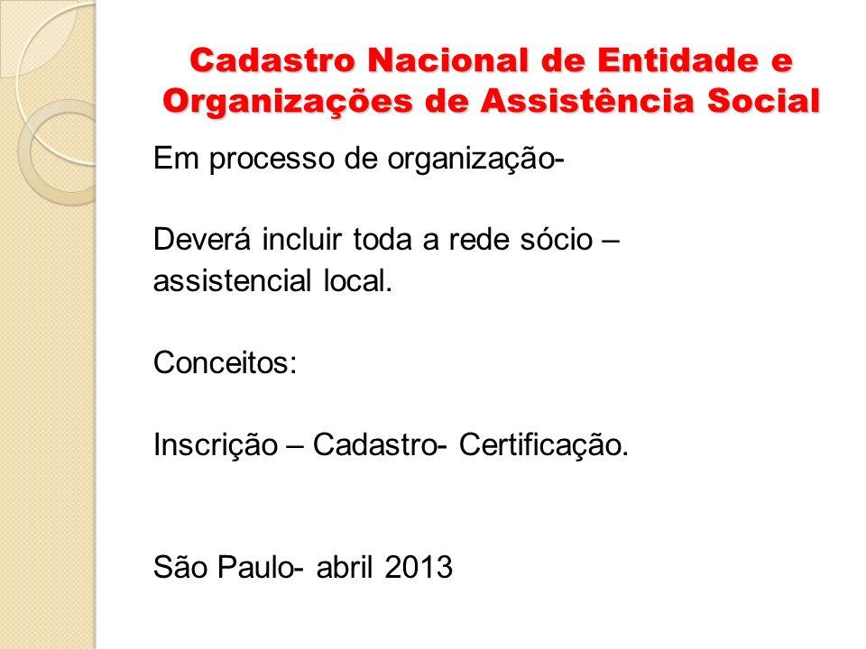 Cadastro Nacional de Entidade e Organizações de Assistência Social Em processo de organização- Deverá incluir toda a rede sócio – assistencial local.