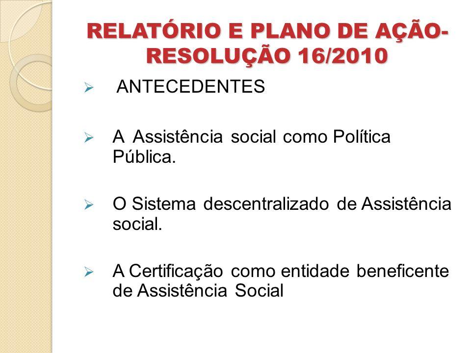 RELATÓRIO E PLANO DE AÇÃO- RESOLUÇÃO 16/2010 Campo funcional da Assistência Social Atendimento – proteção social básica e/ou especial.