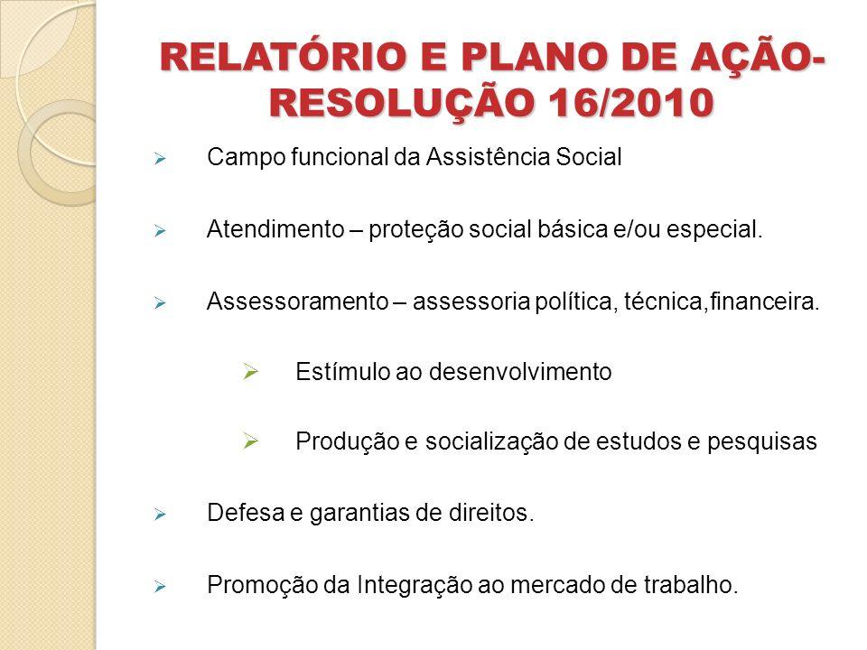 RELATÓRIO E PLANO DE AÇÃO- RESOLUÇÃO 16/2010 Campo funcional da Assistência Social Atendimento – proteção social básica e/ou especial. Assessoramento