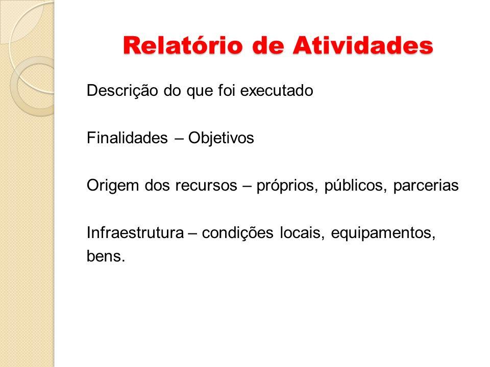 Relatório de Atividades Descrição do que foi executado Finalidades – Objetivos Origem dos recursos – próprios, públicos, parcerias Infraestrutura – co
