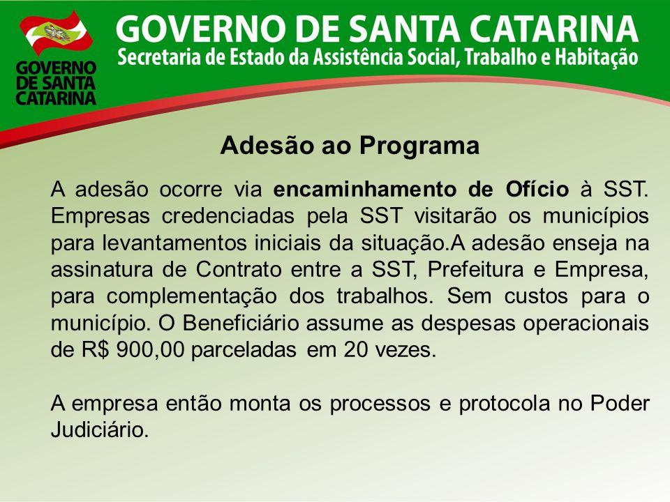 Adesão ao Programa A adesão ocorre via encaminhamento de Ofício à SST. Empresas credenciadas pela SST visitarão os municípios para levantamentos inici