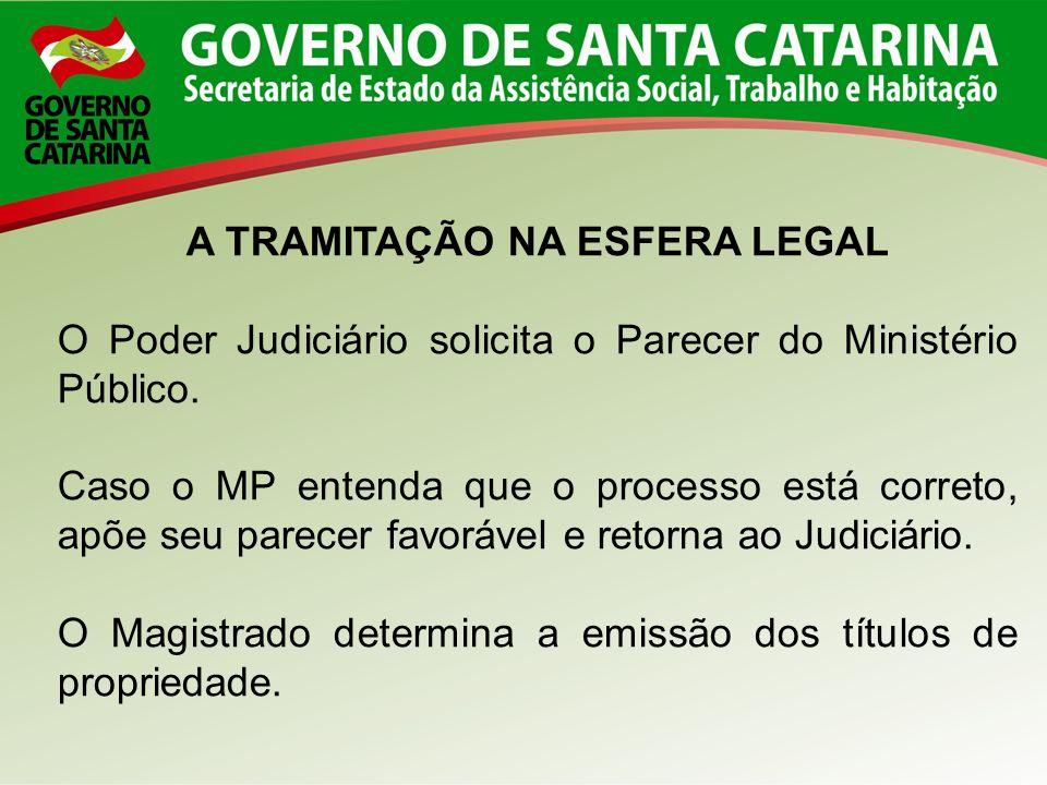 A TRAMITAÇÃO NA ESFERA LEGAL O Poder Judiciário solicita o Parecer do Ministério Público. Caso o MP entenda que o processo está correto, apõe seu pare