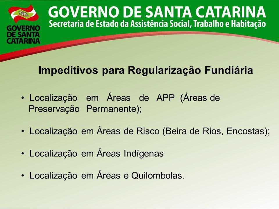 Impeditivos para Regularização Fundiária Localização em Áreas de APP (Áreas de Preservação Permanente); Localização em Áreas de Risco (Beira de Rios,