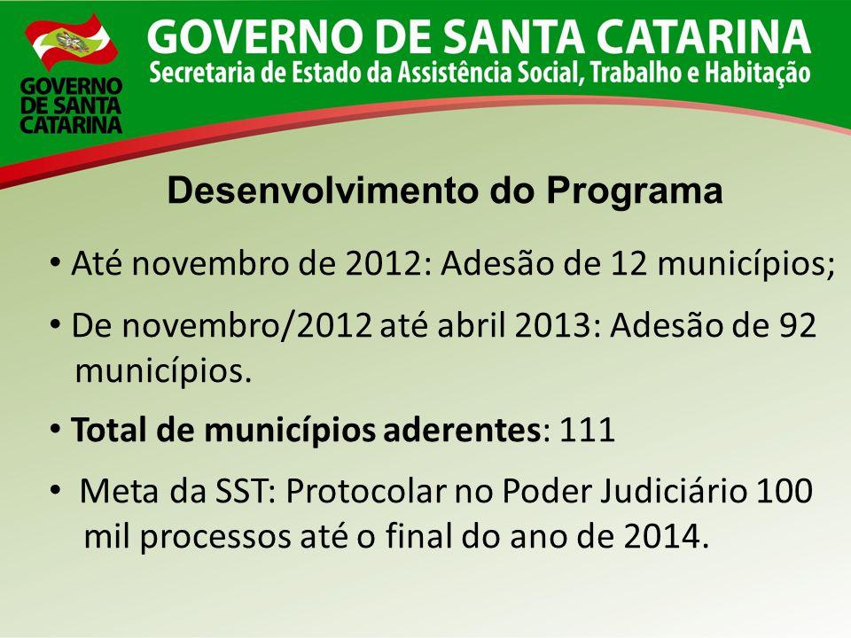 Desenvolvimento do Programa Até novembro de 2012: Adesão de 12 municípios; De novembro/2012 até abril 2013: Adesão de 92 municípios. Total de municípi