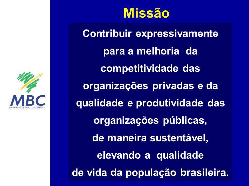 Missão Contribuir expressivamente para a melhoria da competitividade das organizações privadas e da qualidade e produtividade das organizações pública