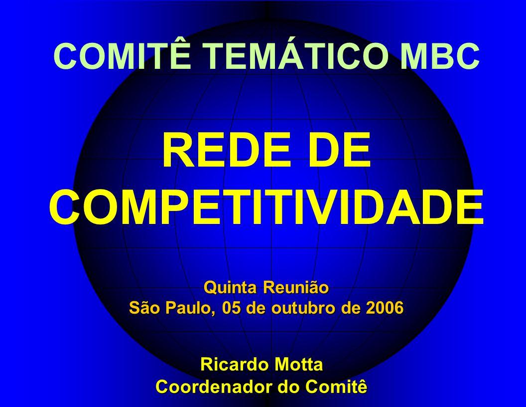 COMITÊ TEMÁTICO MBC REDE DE COMPETITIVIDADE Ricardo Motta Coordenador do Comitê Quinta Reunião São Paulo, 05 de outubro de 2006